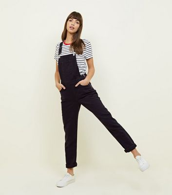 Black Straight Leg Denim Dungarees