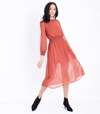 Rust Chiffon Shirred Waist Midi Dress
