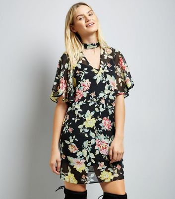 Black Floral Choker Neck Flutter Sleeve Tunic Dress