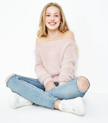 Teens Shell Pink Faux Angora Bardot Neck Jumper