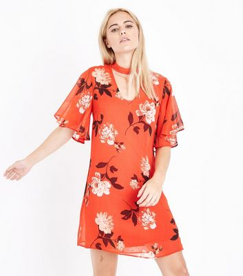 Red Floral Choker Neck Flutter Sleeve Tunic Dress