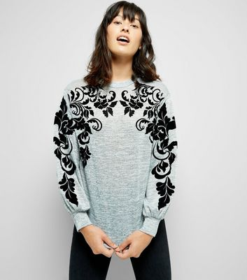 Grey Swirl Vine Flocked Print Fine Knit Jumper