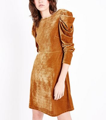 Mustard Velvet Ruched Sleeve Mini Dress