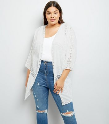 Curves White Lace Insert Embroidered Kimono