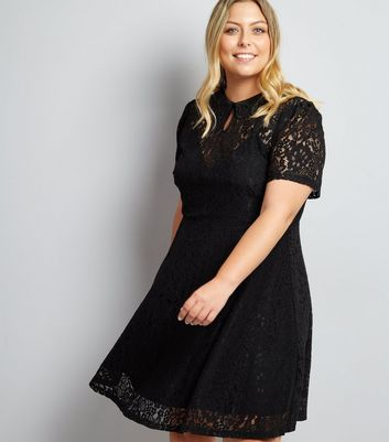 Curves Black Lace Collared Skater Dress