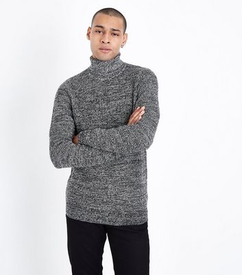 Black Textured Roll Neck Top