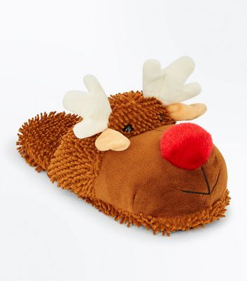 Tan Reindeer Christmas Slippers