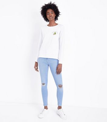 Bright Blue Ripped Knee High Waist Skinny Hallie Jeans