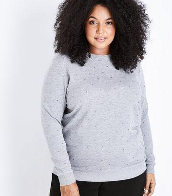 Curves Grey Gem Embellished Sweatshirt