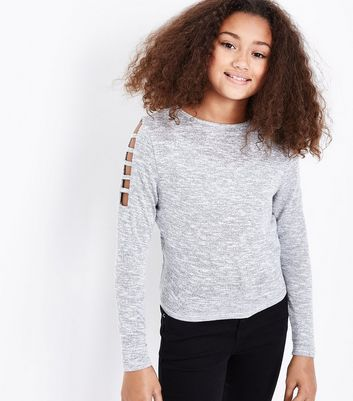 Teens Grey Lattice Sleeve Jumper