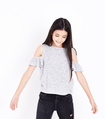 Teens Grey Frill Trim Cold Shoulder Top