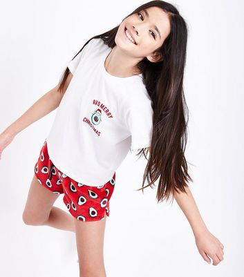"Teenager – Rotes, flauschiges Pyjama-Set mit ""Avo Merry Christmas""-Slogan"