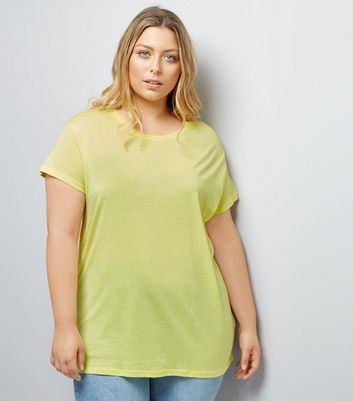 Curves Yellow Oversized T-Shirt
