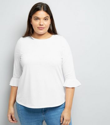 Curves White Flared Sleeve Top