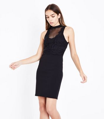 Black Mesh and Lace Bodycon Dress
