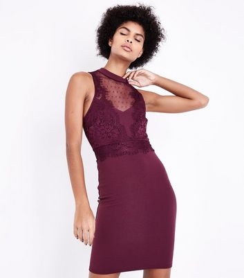 Burgundy Mesh and Lace Trim Bodycon Dress