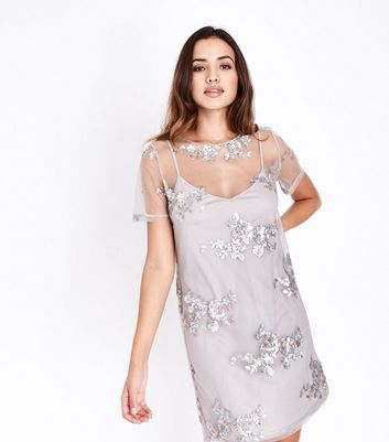 Grey Floral Sequin Mesh Tunic Dress