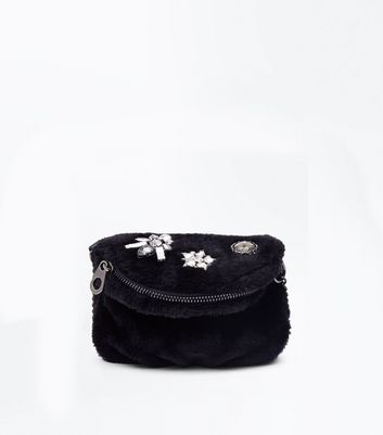 Black Embellished Faux Fur Micro Bag