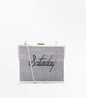 Silver Saturday Embroidered Print Box Clutch