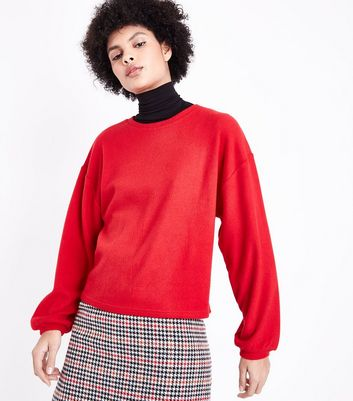 Red Fine Knit Balloon Sleeve Jumper