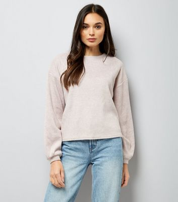 Shell Pink Fine Knit Balloon Sleeve Jumper