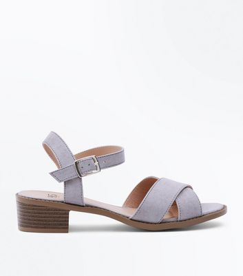 Teens Grey Suedette Strappy Heeled Sandals by New Look