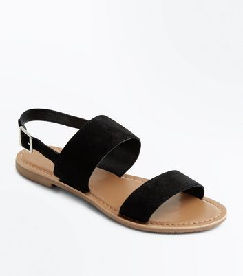 Teens Black Suede Flat Sandals
