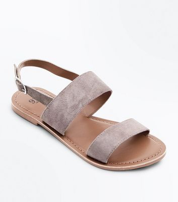 Teens Grey Suede Flat Sandals