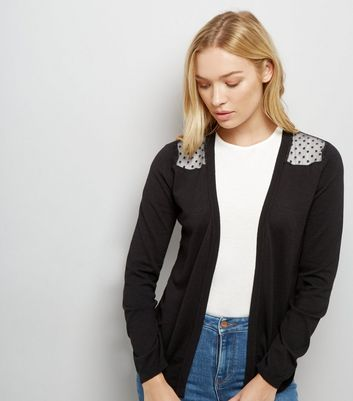 Tall Dot Mesh Panel Longline Cardigan
