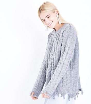 Pale Grey Distressed Cable Knit Jumper