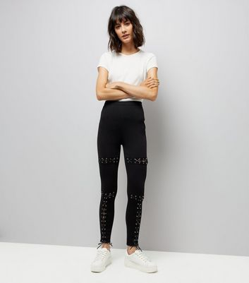 Parisian Black Eyelet Lace Up Skinny Jeans