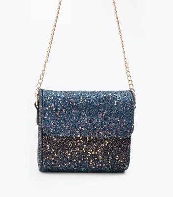 Blue Glitter Curved Bag