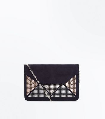 Black Triangle Stud Embellished Clutch Bag