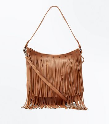 Tan Fringed Shoulder Bag