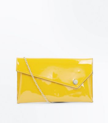 Yellow Patent Asymmetric Flap Clutch Bag