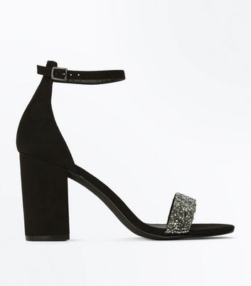 Black Suedette Embellished Strap Sandals
