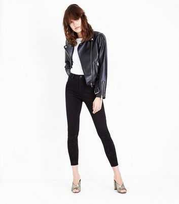 Black Gem Studded High Waist Super Skinny Hallie Jeans