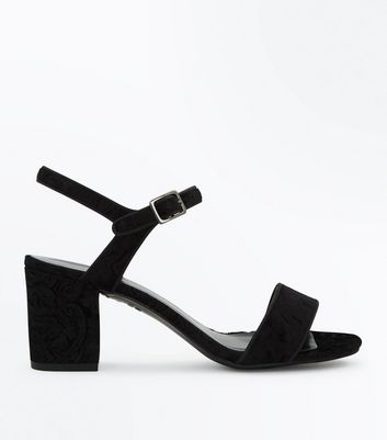 Teens Black Velvet Embossed Ankle Strap Heels
