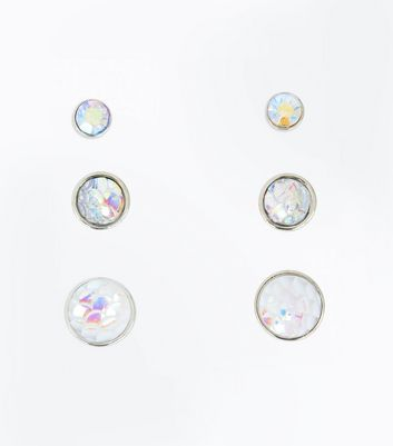 3 Pack Silver Iridescent Gem Stud Earrings