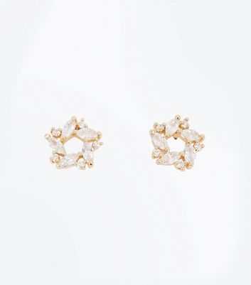 Gold Cubic Zirconia Embellished Star Studs