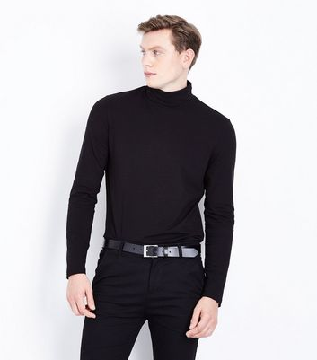 Black Roll Neck Long Sleeve Top