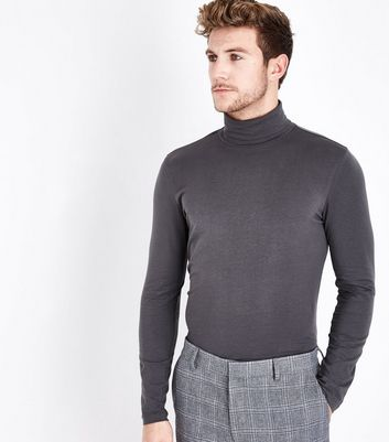 Dark Grey Roll Neck Long Sleeve Top