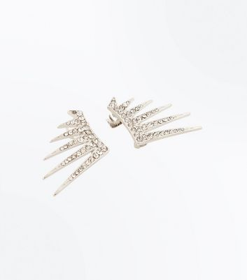 Silver Crystal Spike Earcuffs