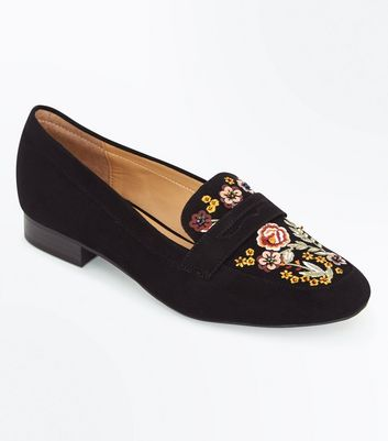 Black Suedette Floral Embroidered Loafers