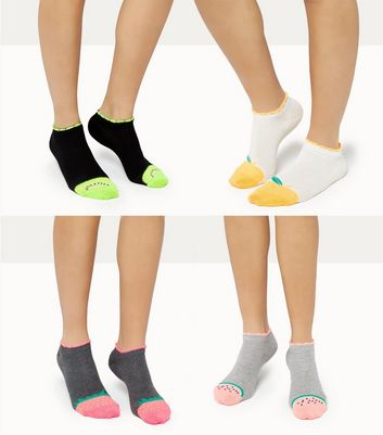 4 Pack Fruit Print Trainer Socks