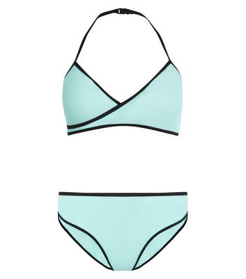 Teens Mint Green Wrap Front Bikini
