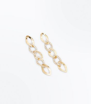 Gold Embellished Twisted Chain Earrings