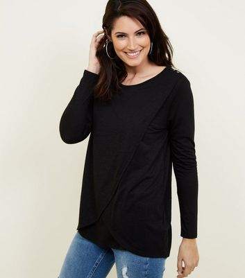 Maternity Black Wrap Front Nursing Top