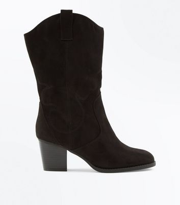 Wide Fit Black Suedette Western Mid Calf Boots
