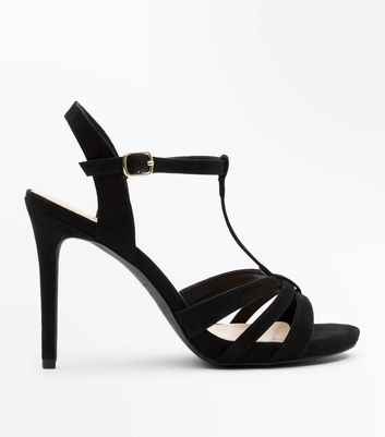 Wide Fit Black Suedette T Bar Strappy Sandals